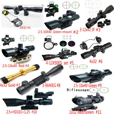 New Outdoor Tactical Telescope Airsoft Reticle Sight Scope w/ Mount Style 11