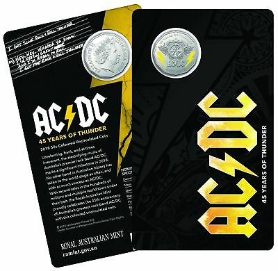 2018 AC/DC 50c Coloured Coin ***Free Postage with tracking*** -Available Now-