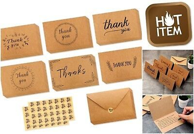 36 Pack Brown Kraft Paper Thank You Cards w/ Matching Envelopes All Occasions