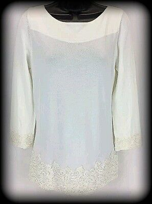 d75a31e3 Brand New Victor Costa 3/4 Sleeve Ivory/ Off White Hand-Beaded Tunic
