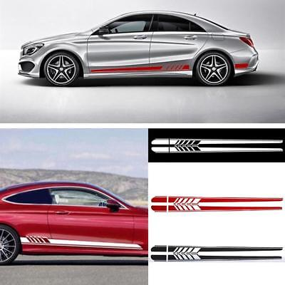 2Pcs Car Side Body Vinyl Decal Sticker Racing Long Stripe Decals Graphics