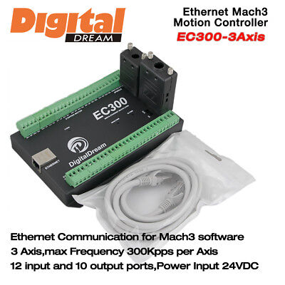 3 Axis CNC Motion Controller 300Khz for Mach3 with Ethernet Communication EC300