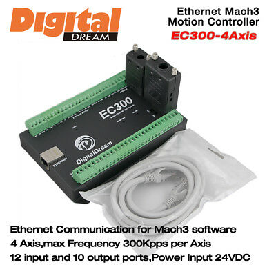 4 Axis CNC Motion Controller 300Khz for Mach3 with Ethernet Communication EC300