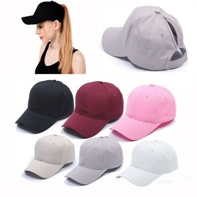 Women Ponytail Cap Messy High Buns Ponycap Adjustable Cotton Baseball Hat Cap AU