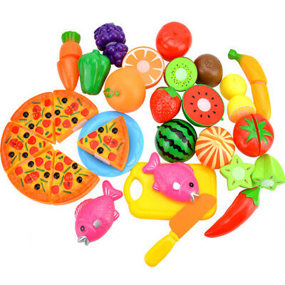 24pcs/Lot Kids Pretend Role Play Kitchen Fruits Vegetable Cake Food Cutting Toys