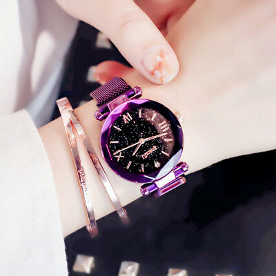 Casual Starry Sky Belt Watch Magnet Strap Buckle Stainless Luxury Wrist Watch AW