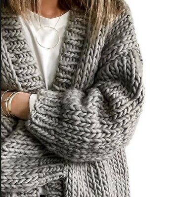Little Lies Grey Hand Knitted Chunky Cardigan Size s/m