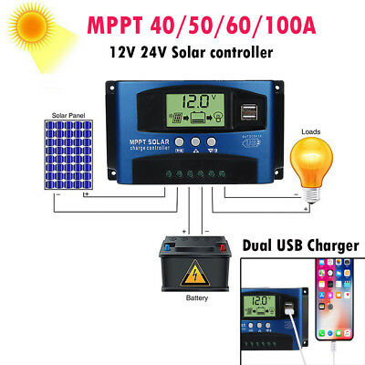 40/50/60/100A MPPT Solar Panel Regulator Charge Controller Auto Focus Tracking U