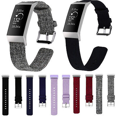 Replacement Nylon Woven Fabric Watch Strap Wristband Bracelet fr Fitbit Charge 3