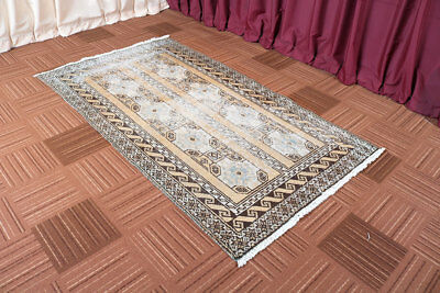 Distressed Hand Knotted Vintage Antique Oriental Wool Geometric Area Rug