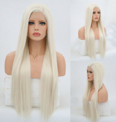"AU 24"" White Blonde Straight Handtied GlueLess Lace Front Wig Synthetic Hair"