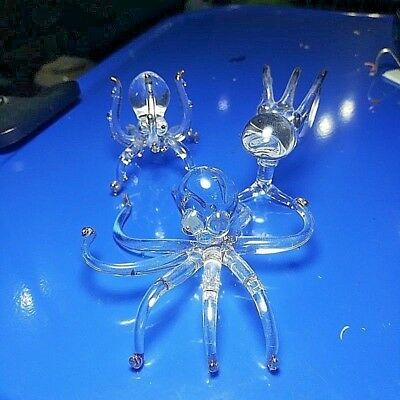 3 Glass ocean squids miniature figurine crystal ornament collectible home decor