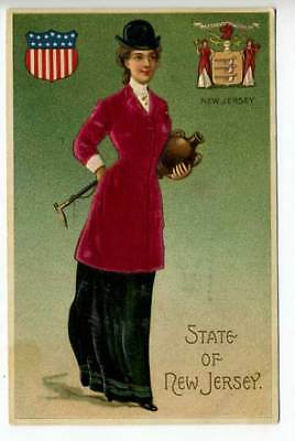 Silk Embossed Langsdorf State Girl New Jersey Postcard