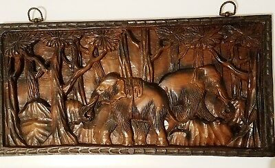 Two Large Carved Wood Elephants Jungle Relief Panels Scenes Wall Art Ethnic Asia
