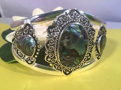 Paua Abalone Shell Heart Sterling Silver Cuff Bracelet - Healing - Protection