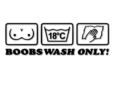 BOOBS WASH ONLY L 1605 13x5 cm //// Sticker JDM Aufkleber Frontscheibe