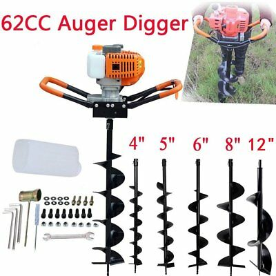 """62CC Gas Powered Earth Auger Power Engine Post Hole Digger 4""""- 8 """"Drill Bit OY"""