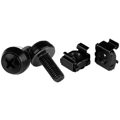 StarTech.com CABSCREWM62B M6 x 12mm - Screws and Cage Nuts - 100 Pack - Black