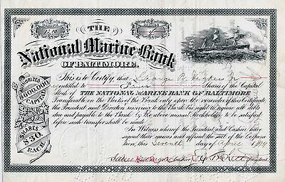 The National Marine Bank of Baltimore, 1899  (4 Shares)