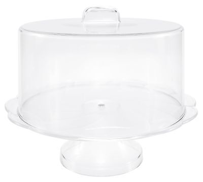 Clear Cake Stand Server With Dome Cover, Raised Dessert Display Plate, 10""
