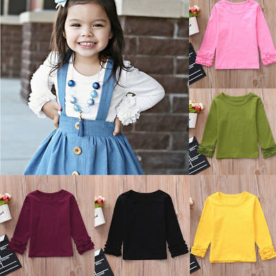 US Lovely Toddler Baby Girls Long Sleeve Ruffles Candy Color T Shirts Clothes