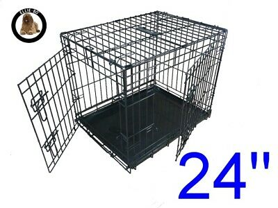 """Ellie-Bo 24"""" Small Dog Puppy Pet Cage Folding Carrier Crate In Black"""