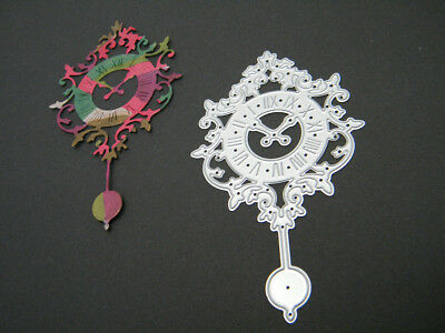 Metal Die of Antique Clock with Pendulum for Scrapbooking & Cardmaking (UK)