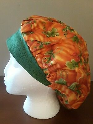 Bright Pumpkins Women's Bouffant Surgical Scrub Hat/Cap Handmade
