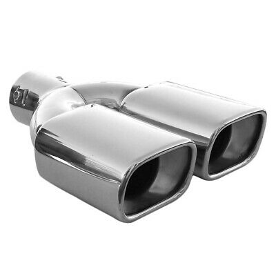 Universal Twin Dual Exhaust Pipe Trim Tip Tail Muffler Stainless Steel Chrome