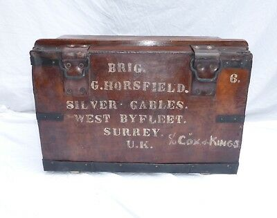 Antique Leather Campaign Chest Trunk