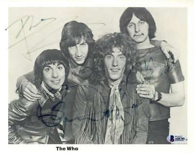 The Who Group Signed Autographed 10x8 Photo Townshend Entwistle +1  Beckett BAS
