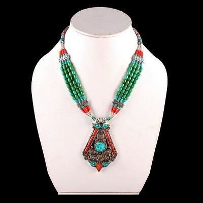 Antique Tibetan Turquoise with Red Coral Gorgeous Handmade Necklace NN-9171