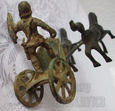 early ANTIQUE BRONZE GREEK/ ROMAN SOLDIER ...w/ HORSES CHARIOT figure statue old
