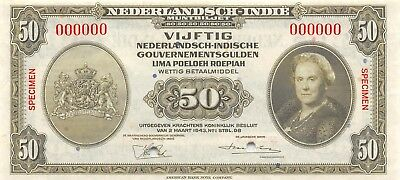 Netherlands Indies 50 gulden / Rupiah 2.3.1943 P 116s Uncirculated Banknote
