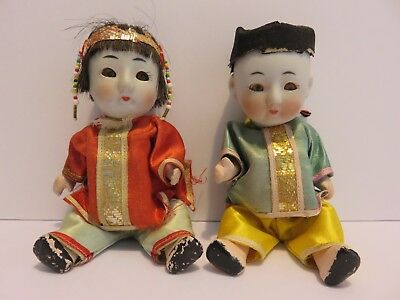"""Lot of 2 Vintage Asian Chinese Bisque Head Composition Body Squeaker Dolls 6"""""""