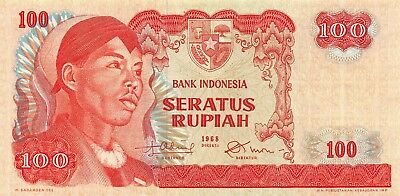 Indonesia 100 Rupiah 1968 P 108a Series THV Radar Circulated Banknote SD718