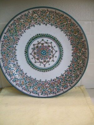 """Faenza, Italy Art Pottery Hand Painted  Collectible 12""""vintage Plate"""