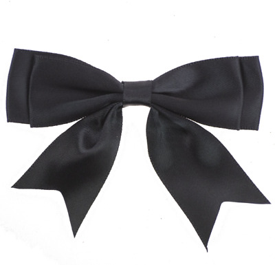 Pack of 5 Black Large 8.5cm / 25mm Satin Ribbon Ready Made Double Bows Craft