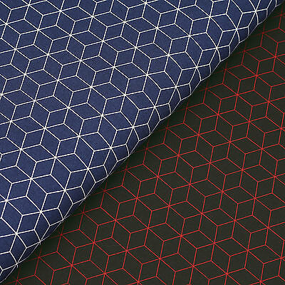 100% Cotton Fabric FQ Hexagon Square Cubic Box Beehive Honeycomb Geometric VS32