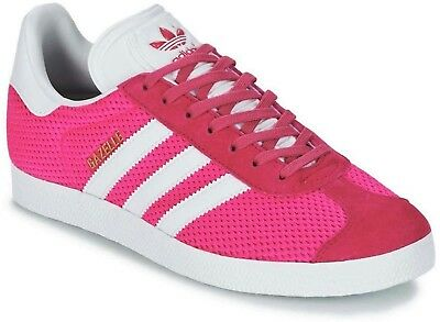 Adidas Originals Gazelle Older Boys / Mens Trainers Pink Knit Uk Size 4 - 7.5