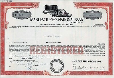Manufacturers National Bank of Detroit, 1969, 5% Capital Note due 1994 (2.000 $)