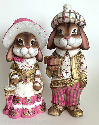 """Unique BUNNY""""BOY"""" BUNNY""""BELLE""""Wood Russian Hand Carved Hand Painted"""