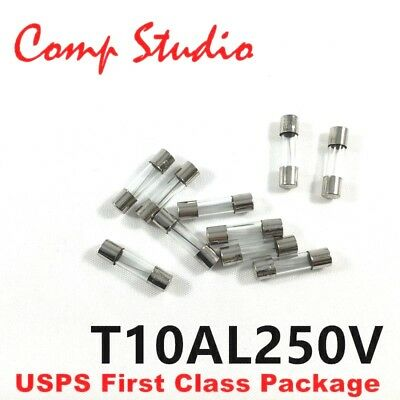 10pcs 10A 250V Slow-Blow Acting Fuse Glass Tube Time-Delay Fuse 5X20mm