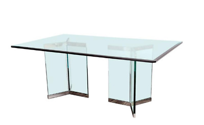 Leon Rosen, Pace Collection Rectangular Polished Chrome and Glass Dining Table