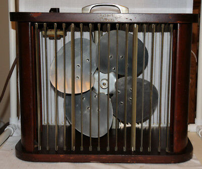 Vintage Mathes Cooler Electric Fan Wood Four Speed Works Great