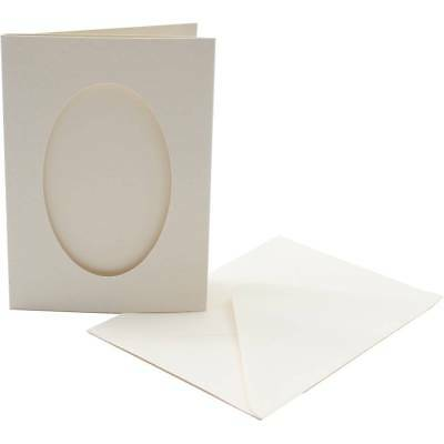 Cream Oval Aperture 5 Double Fold 4x6 inch Craft Cards /& Envelopes