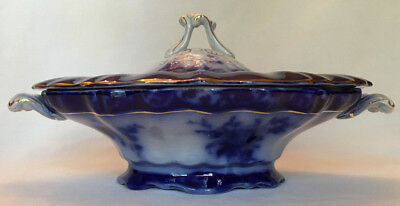 Touraine Flow Blue Oval Covered Vegetable Dish Bowl Henry Alcock 1898 Antique
