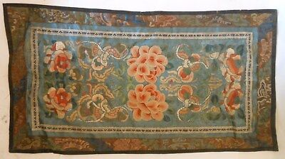 Fine Chinese 19th Century Embroidered Panel, Flowers, Insects, Forbidden Stitch