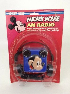 Disney Concept 2000 Mickey Mouse AM Radio W/ Headphones Clip and Carry strap