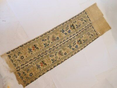 Fine Chinese 19th Century Embroidered Double Panel, Flowers Bats